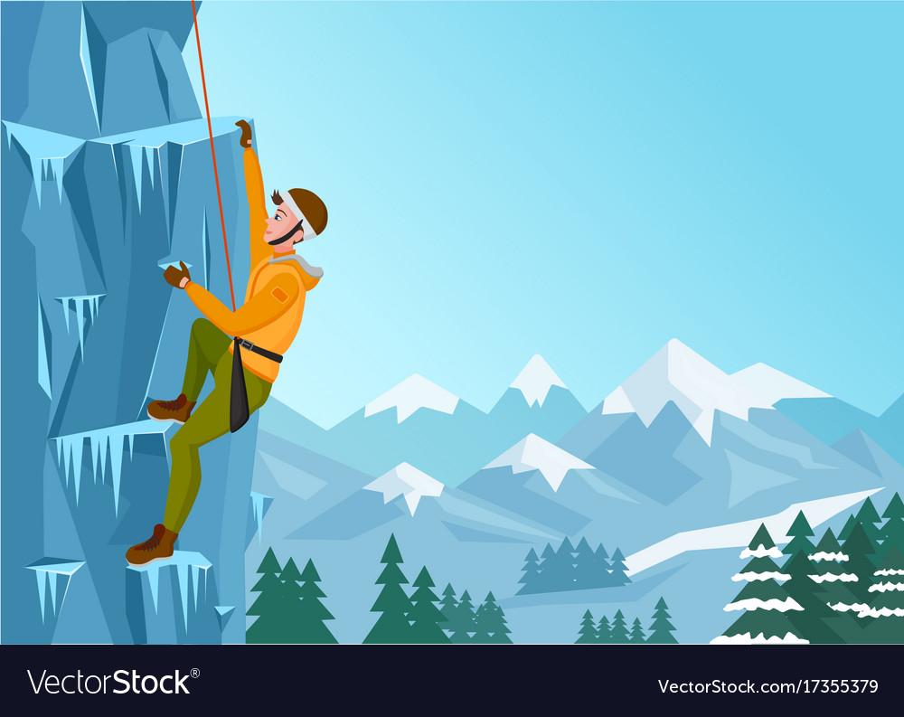 Rock climbing man male on the ice rock winter