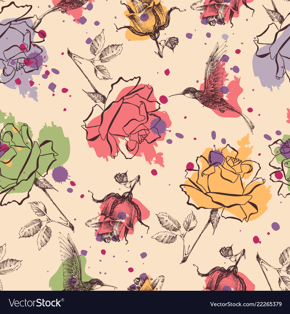 Roses and colibri seamless pattern