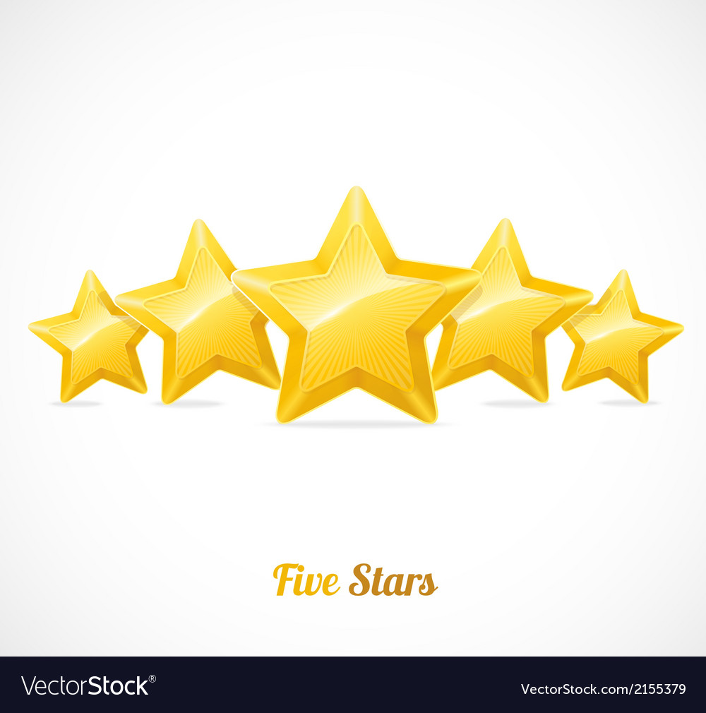 Star rating with five gold stars concept