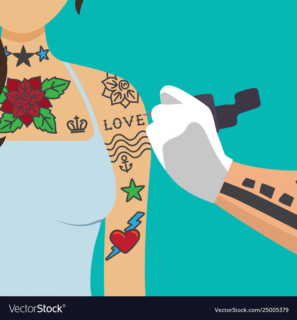 Tattooist artist paint girl arm