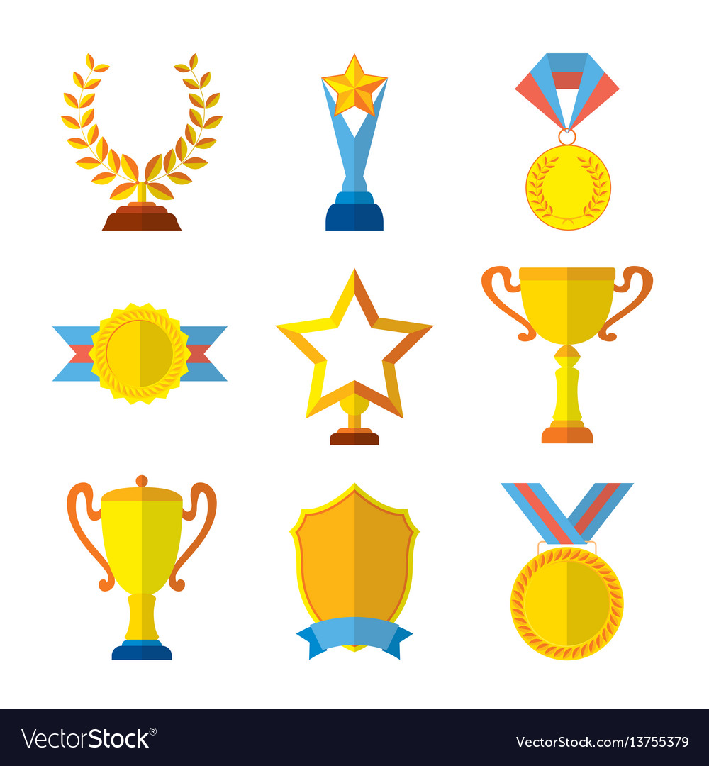 Trophy icons flat set of medallion success award