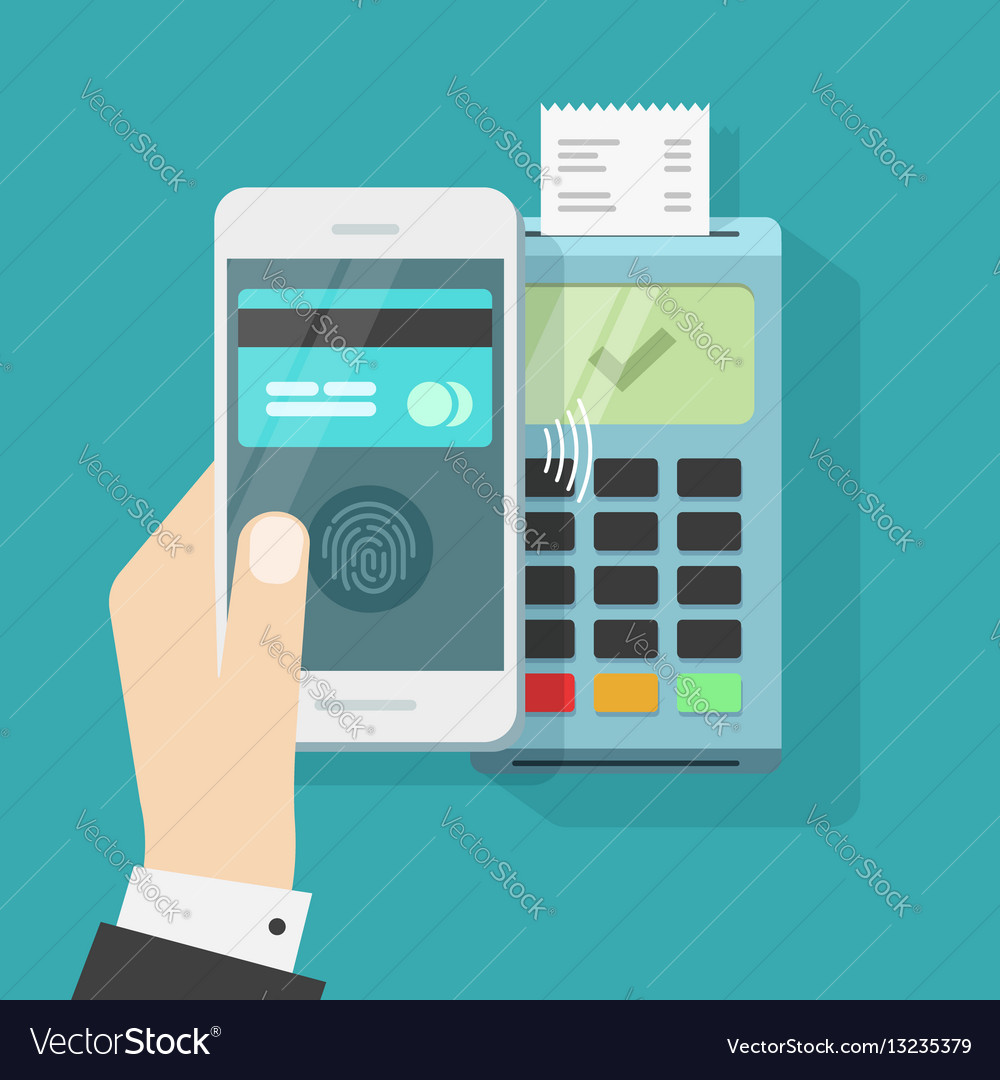 Wireless payment with smartphone and nfc terminal vector image