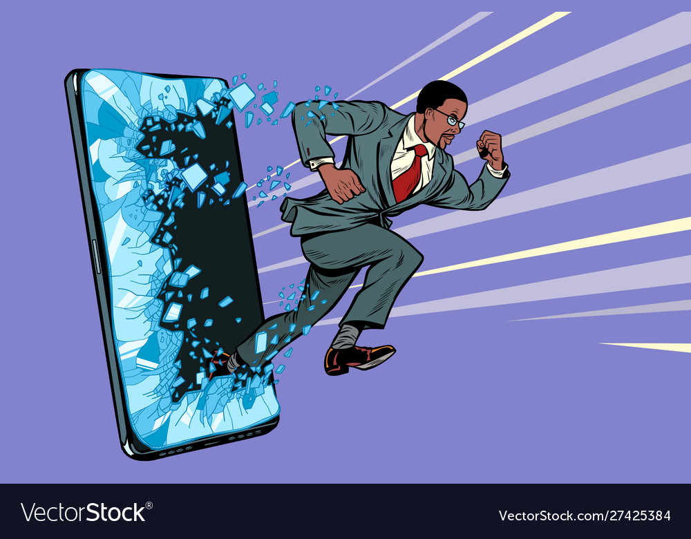 African businessman punches screen phone