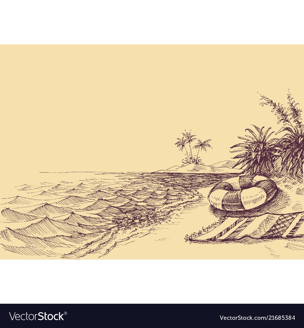 Beach and sea drawing beach towel and life buoy