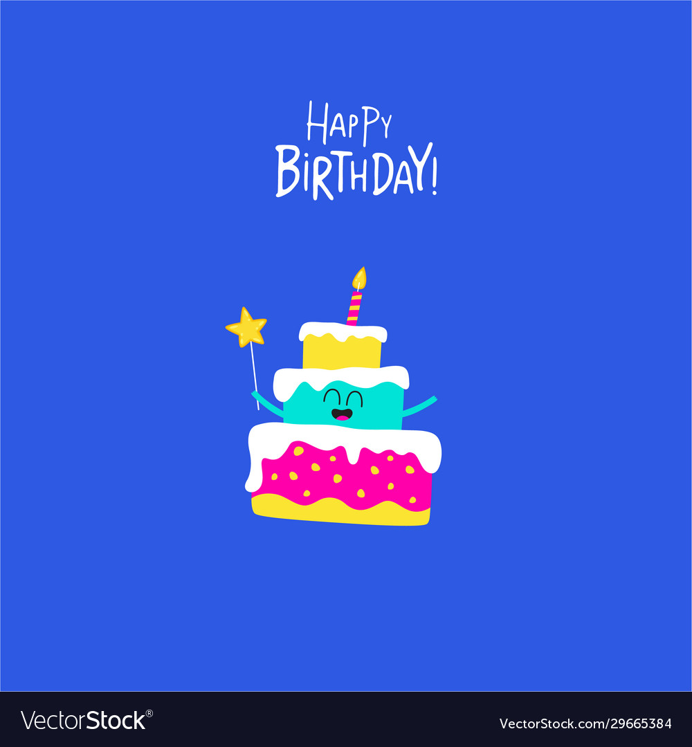 Birthday cake for greeting card graphics
