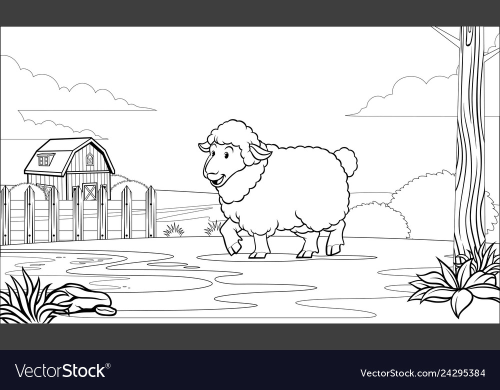Black and white coloring page sheep in the farm
