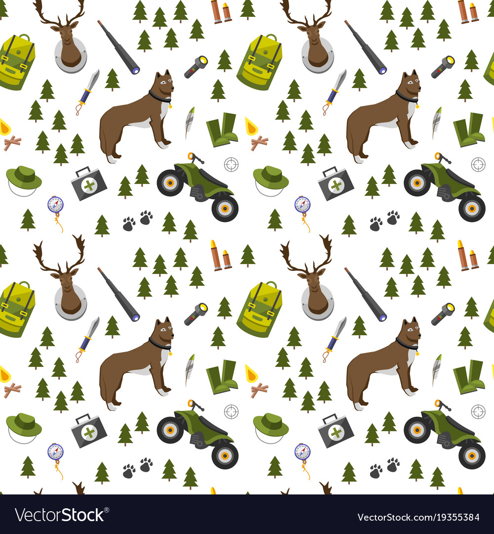 Camping trip seamless pattern accessories and