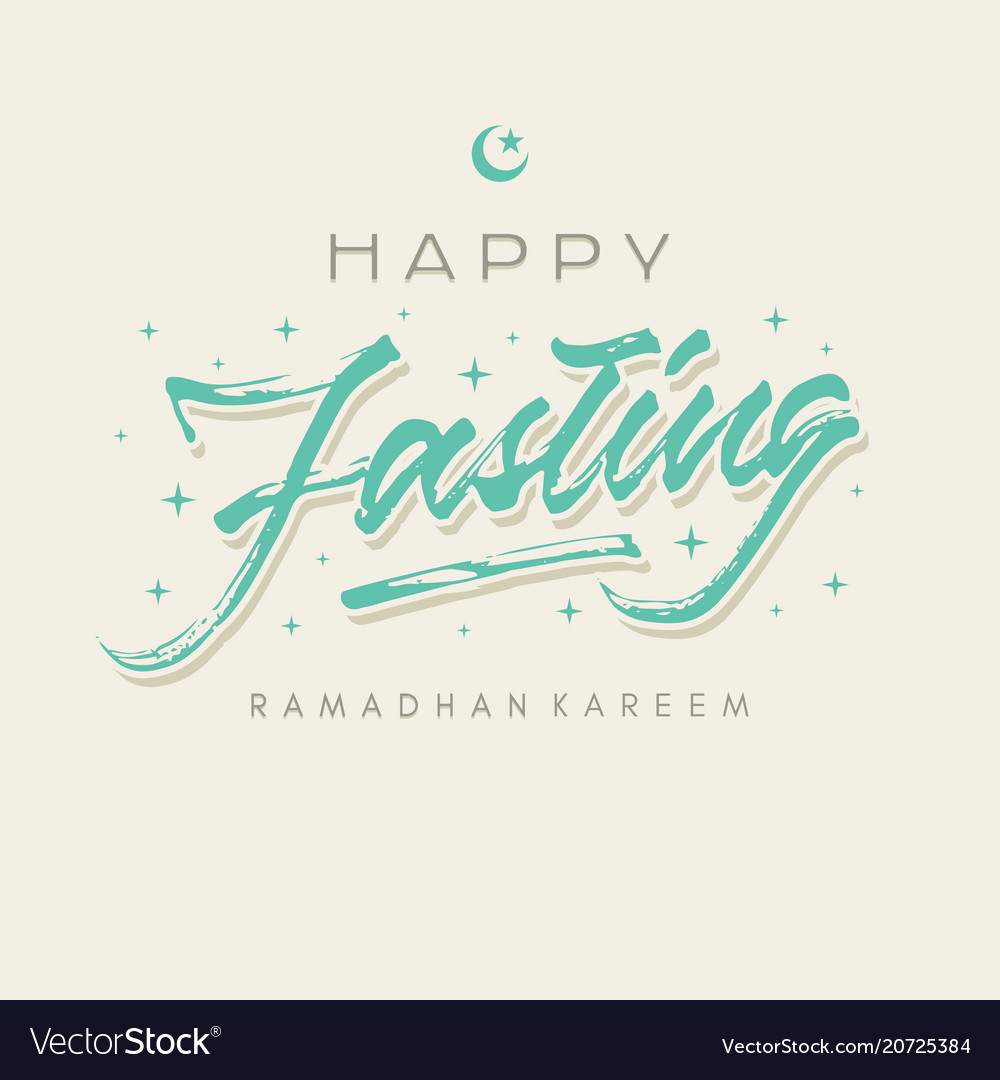 Happy fasting ramadhan roughen brush lettering