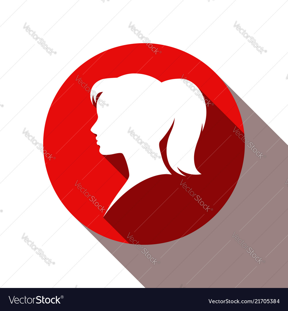 Head avatar girl wooman flat shadow icon