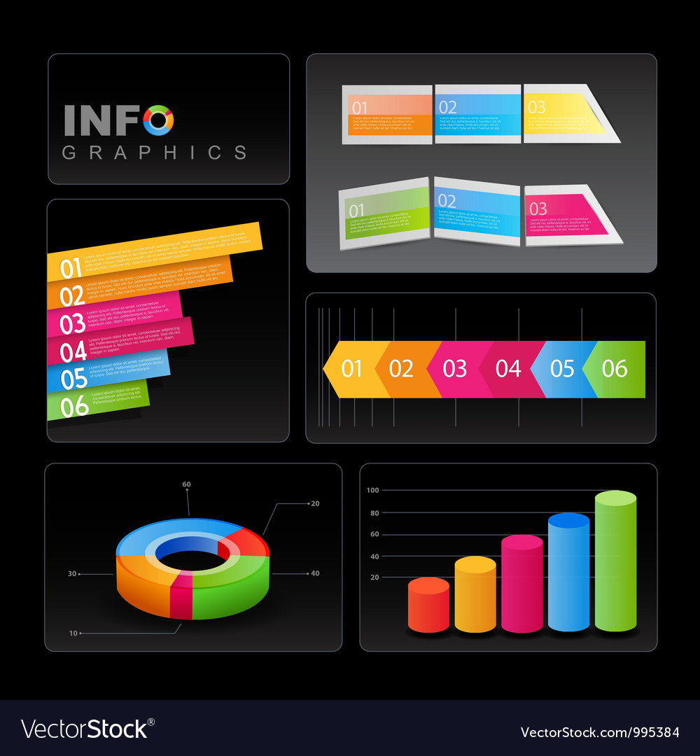 Info-graphic elements on black background