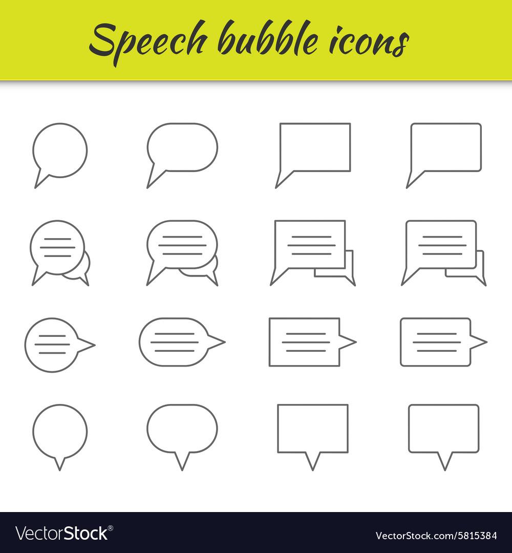Outline icons set Speech bubbles
