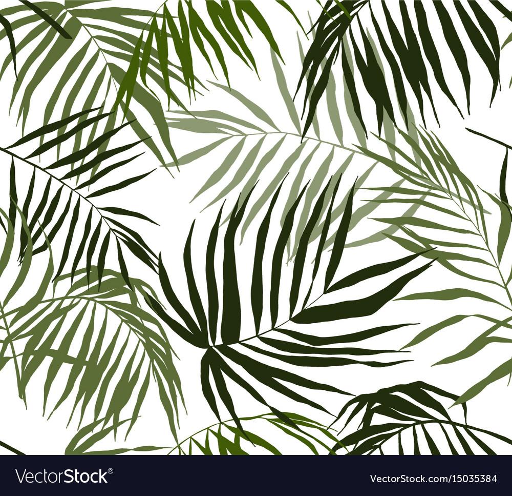 Seamless pattern palm leaves hand drawn