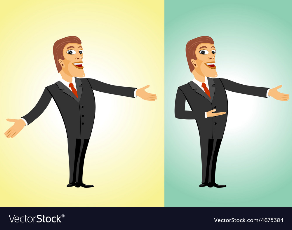 successful business man welcoming you royalty free vector