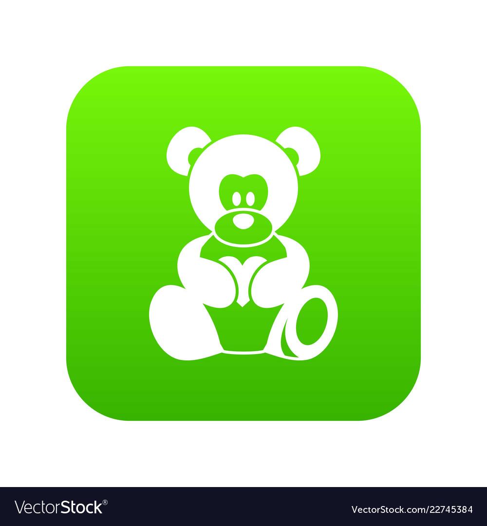 Teddy bear holding a heart icon digital green