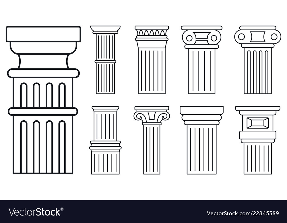 Ancient column icon set outline style