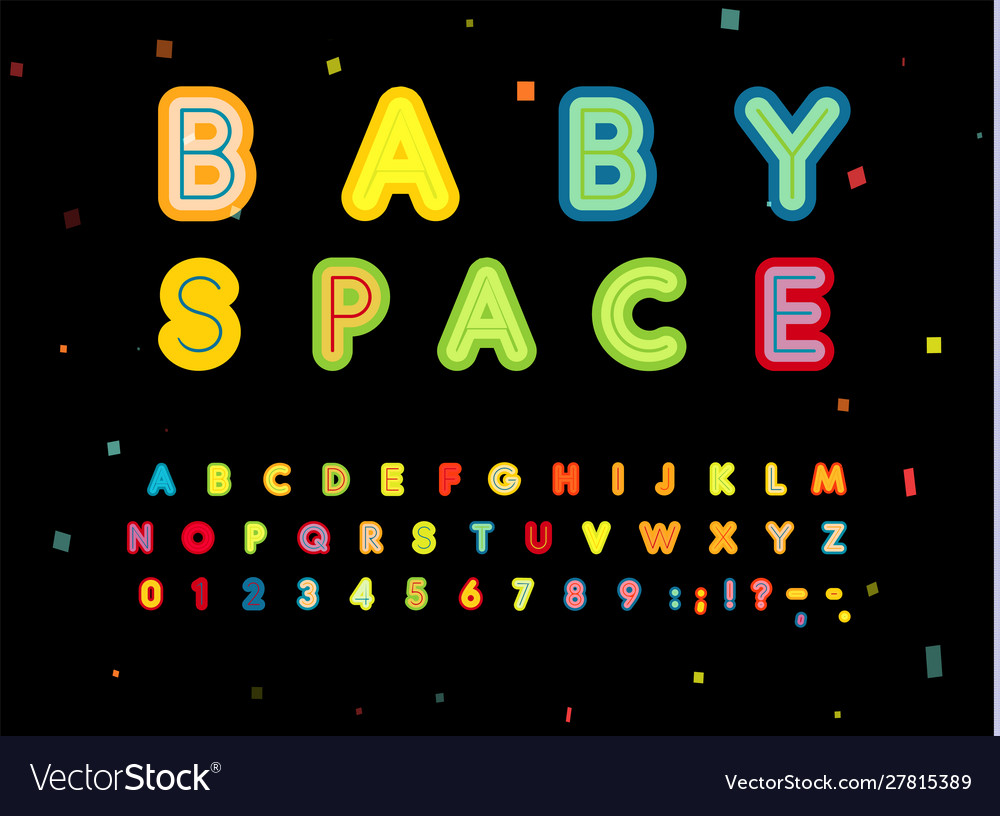 Baspace letters and numbers set bold children