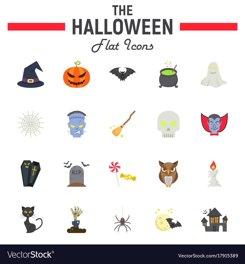 Halloween flat icon set scary symbols collection