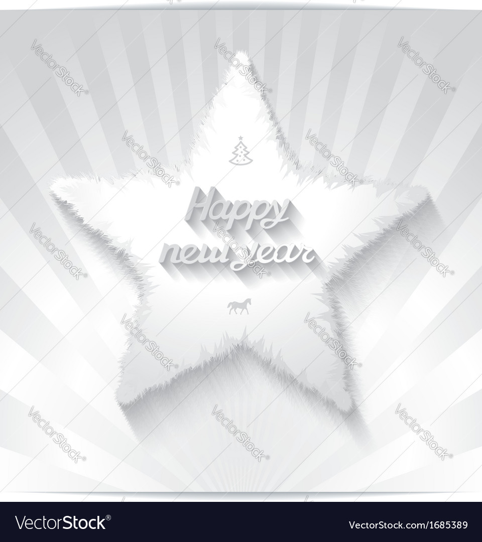 Happy new year greeting card with 3D star Vector Image