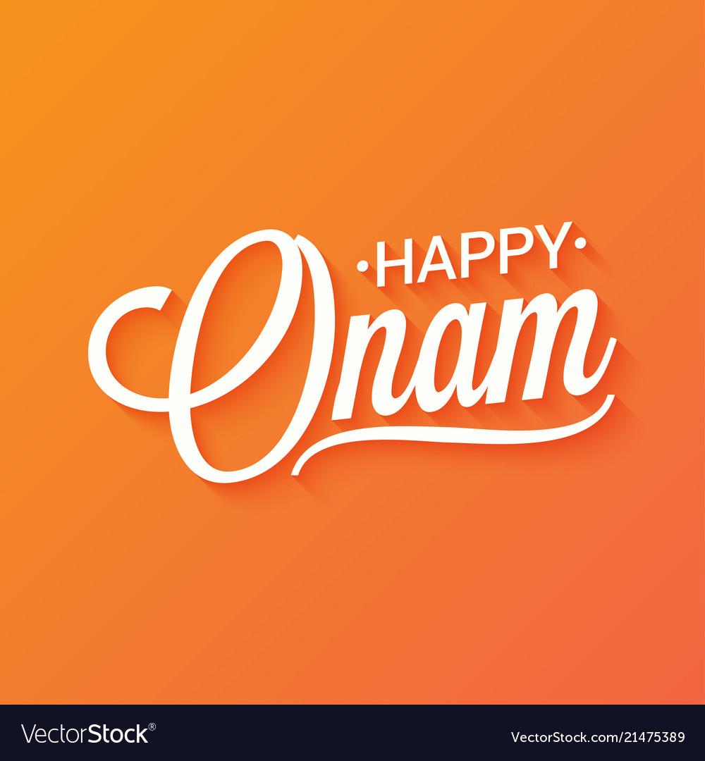 Happy onam vintage lettering background