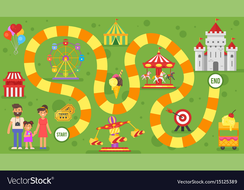 Kids amusement park board game