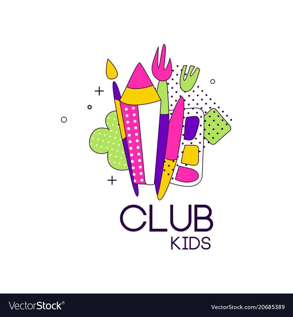 Kids club logo label for development educational