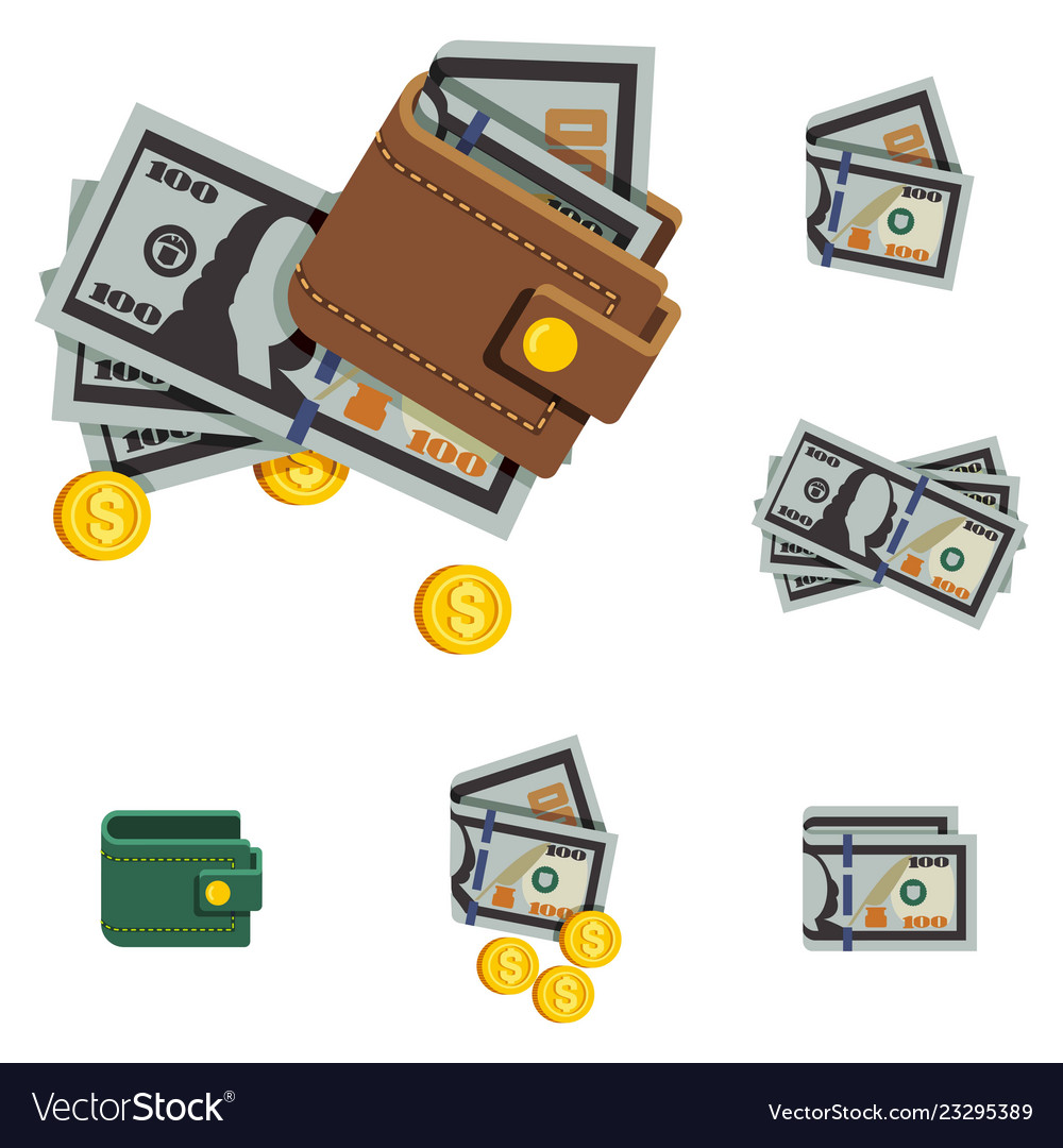 Money icons and brown wallet