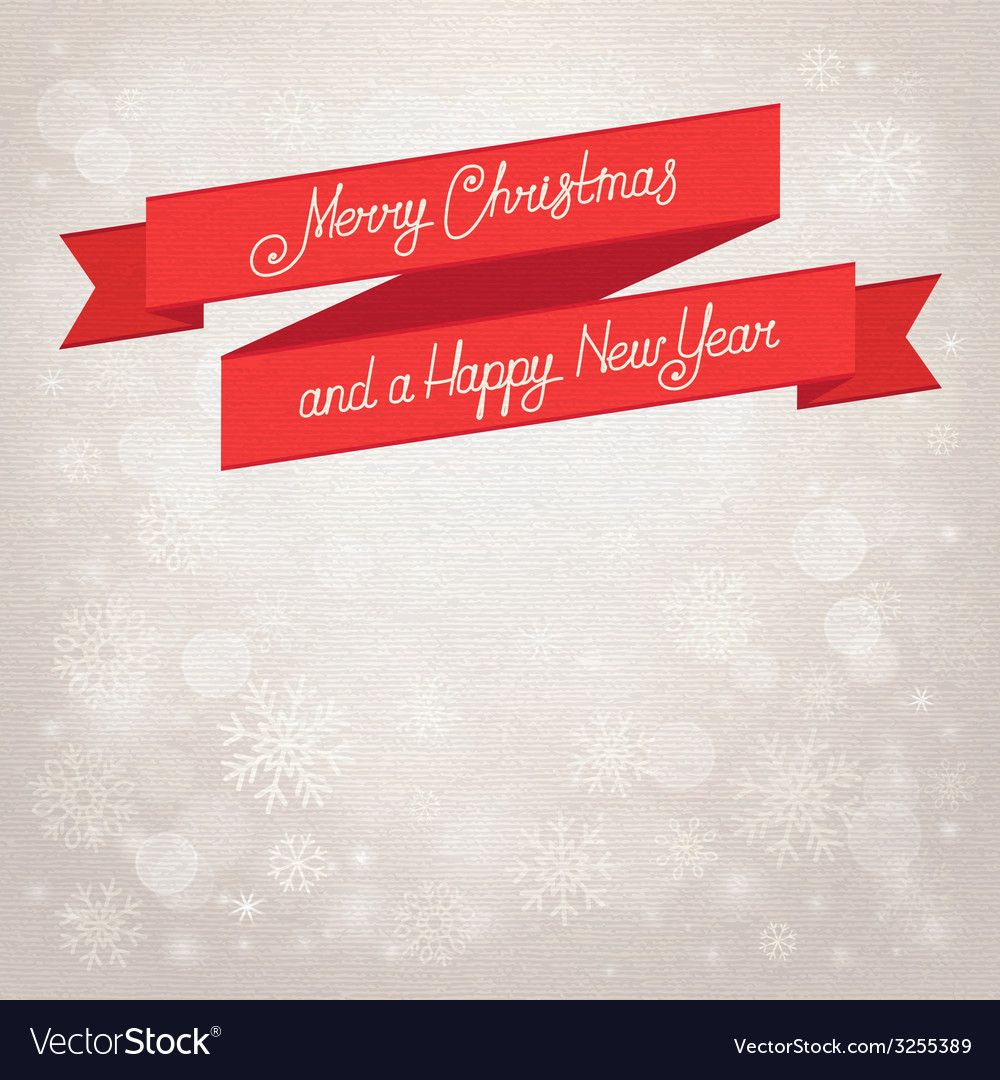 Postcard Merry Christmas beige background with