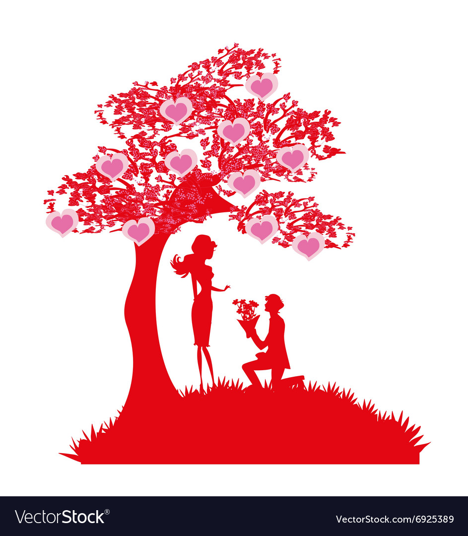 Proposal wedding - couple silhouette Royalty Free Vector