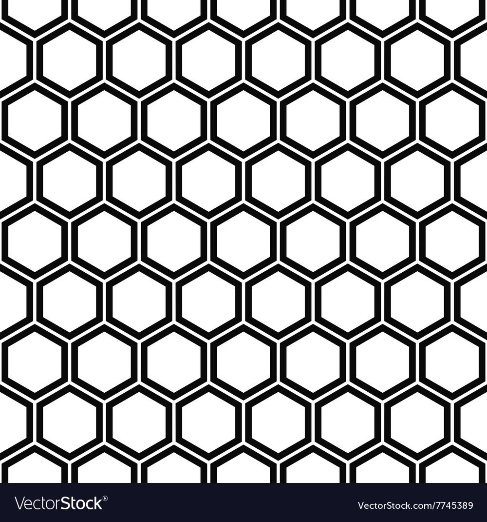 repeating black and white hexagon pattern vector image