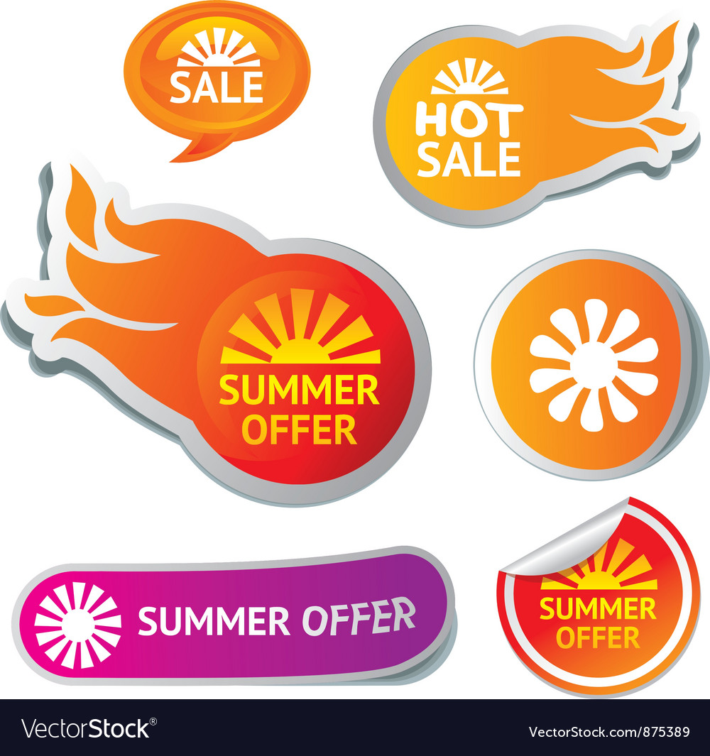 Set of hot summer sale stickers vector image