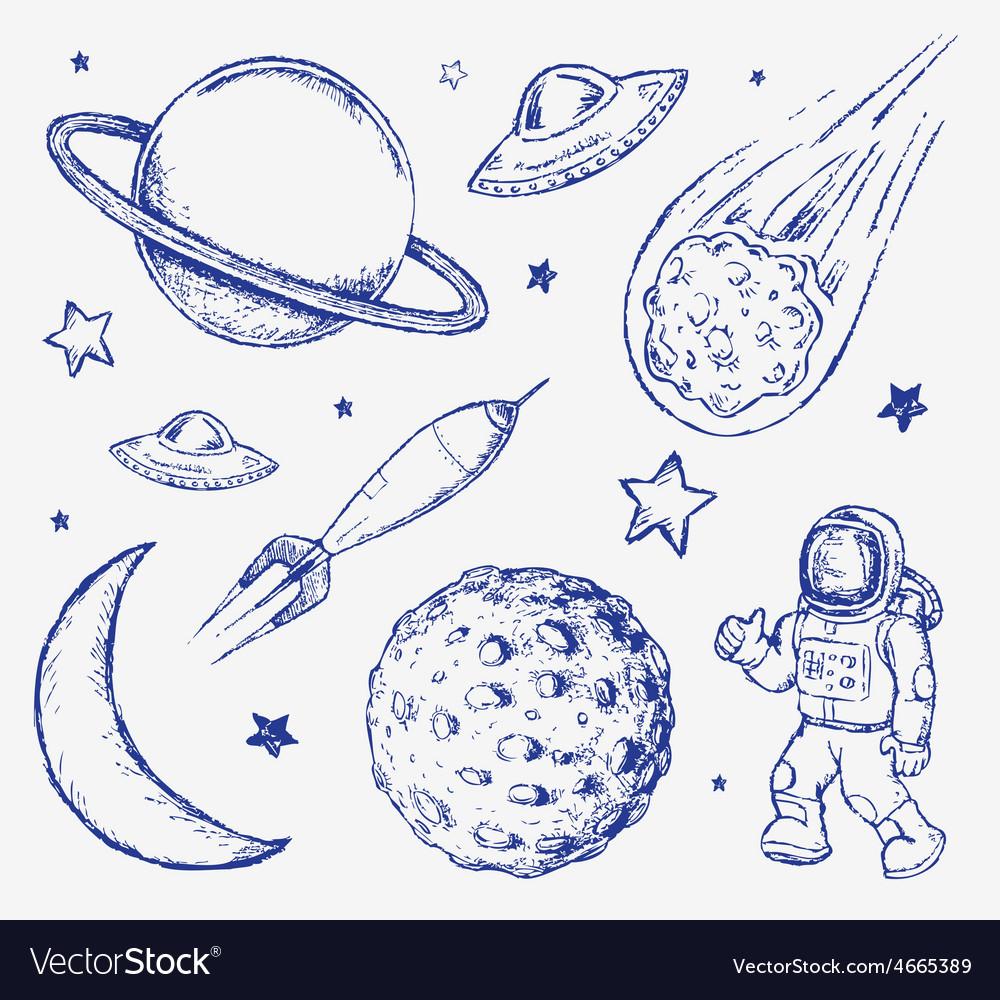 Space doodle set elements