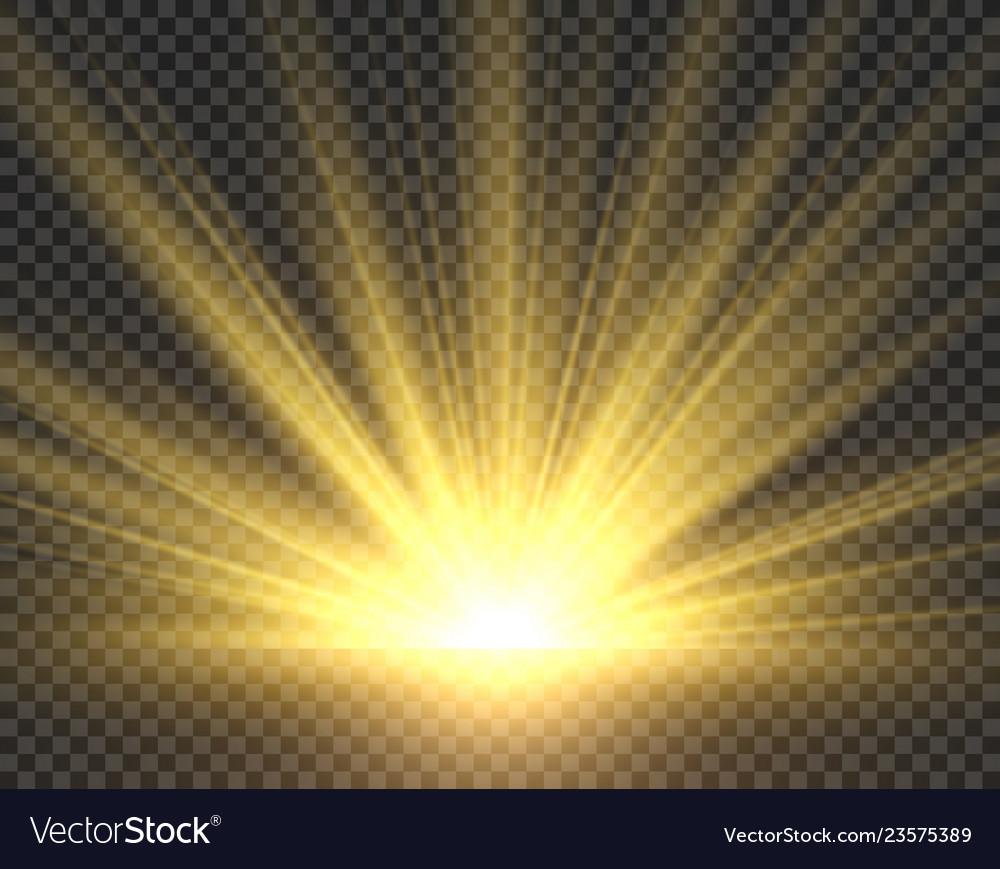 Sunlight isolated golden sun rays radiance