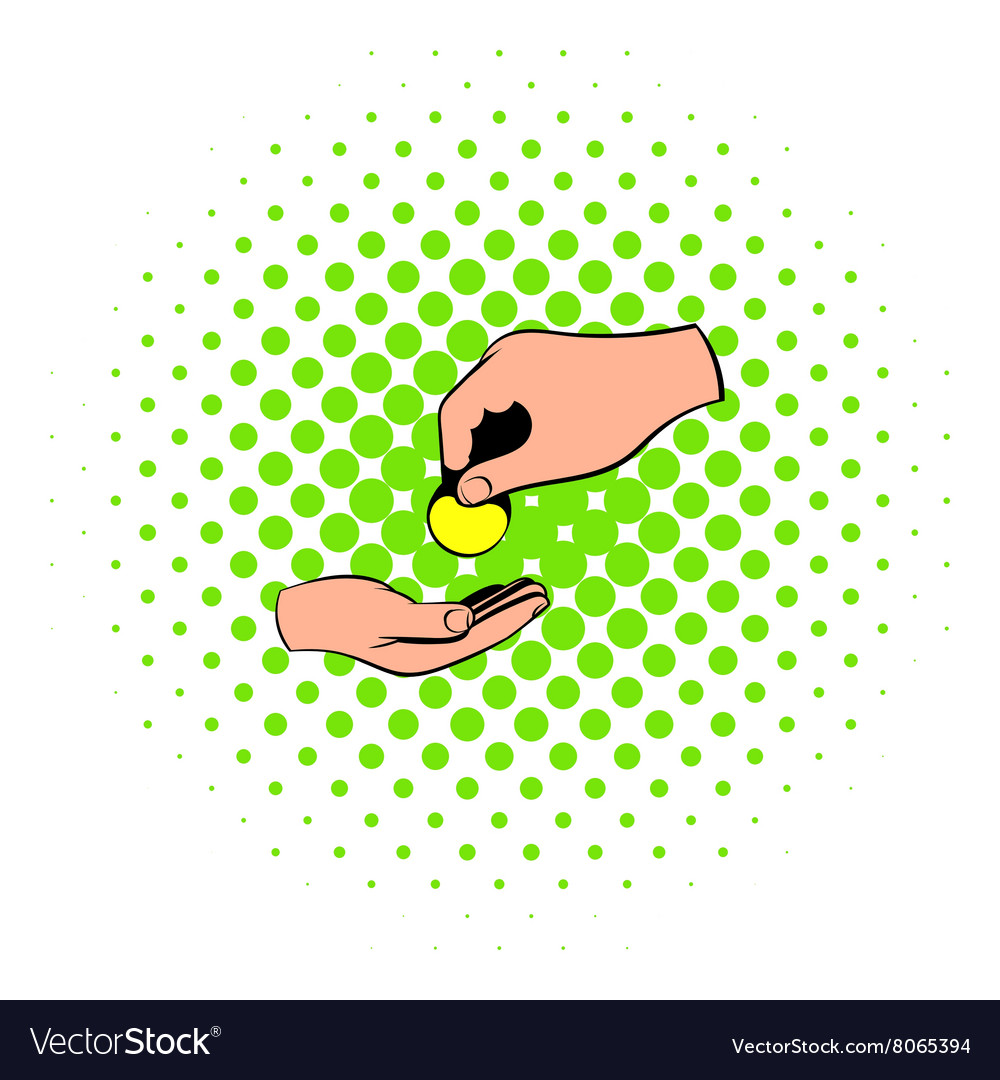 A hand giving a coin icon comics style vector image