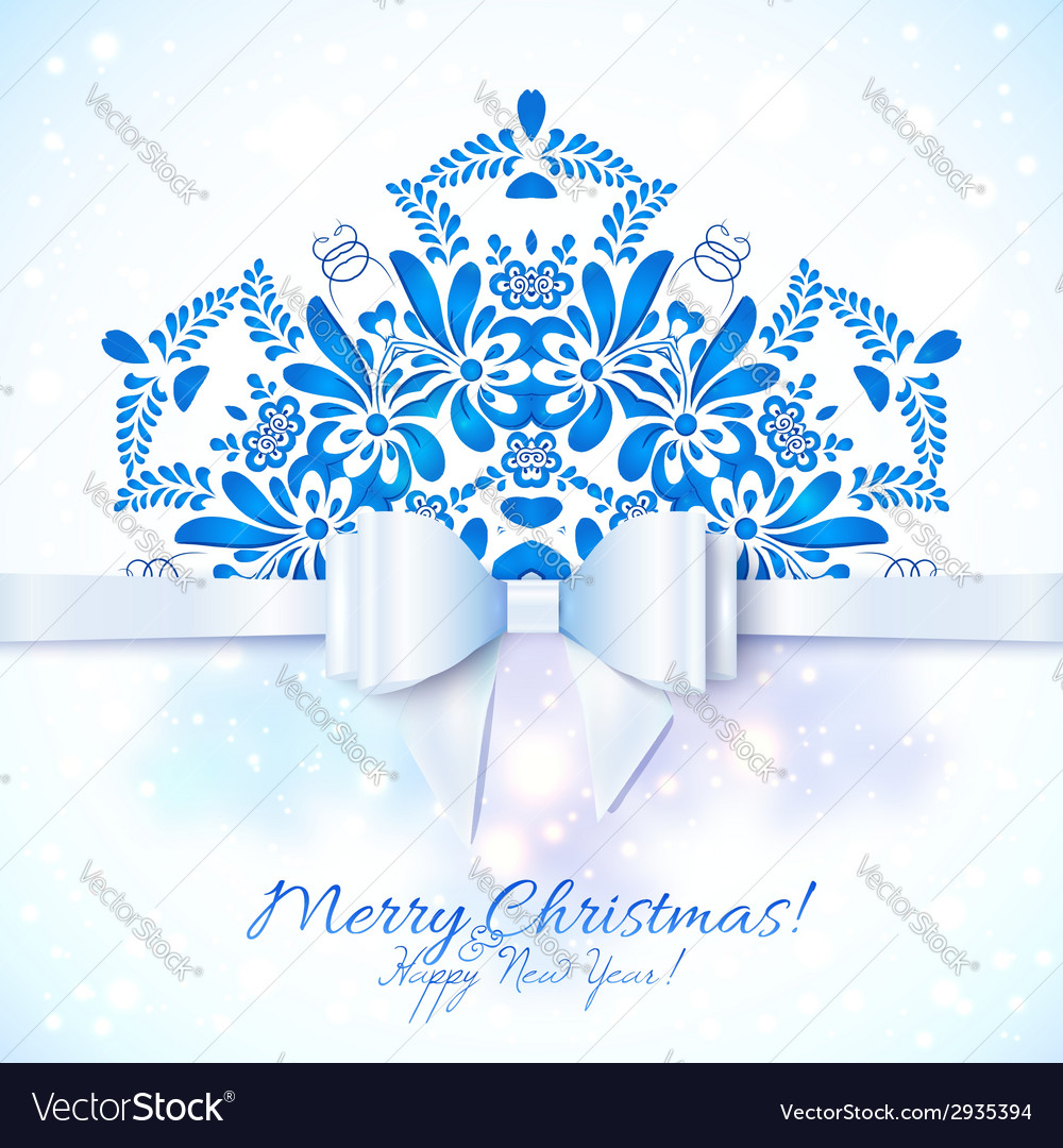 Blue Christmas greeting card with bow vector image