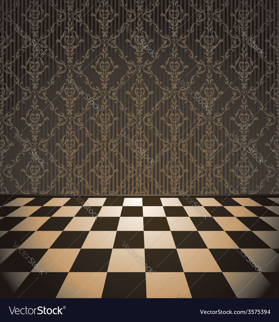 Brown room with checkered floor Royalty Free Vector Image