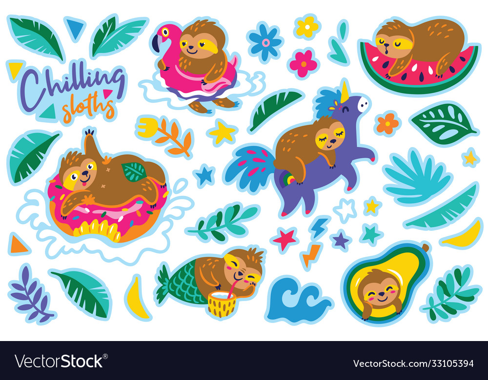 Chilling sloths in cartoon style sticker set