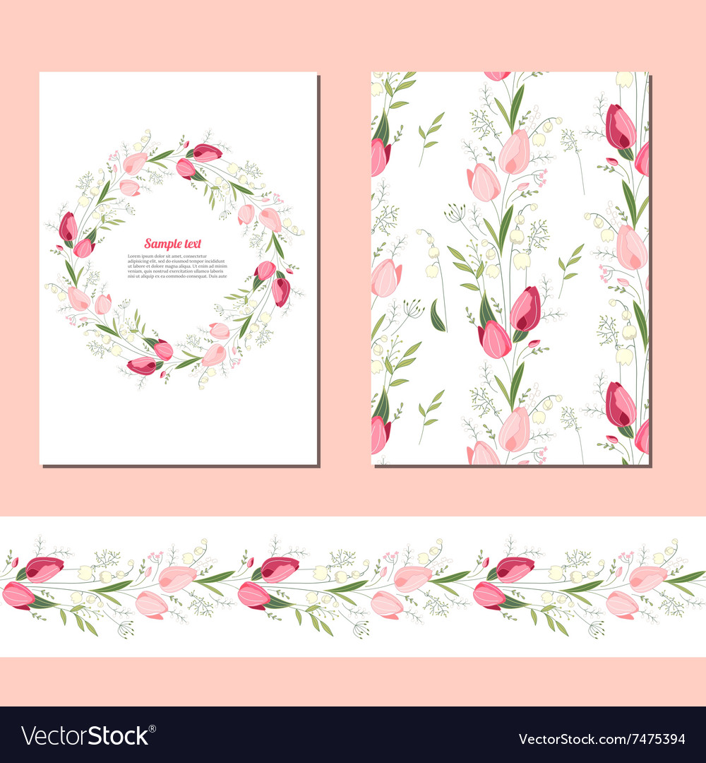 Floral spring templates with cute bunches of vector image mightylinksfo
