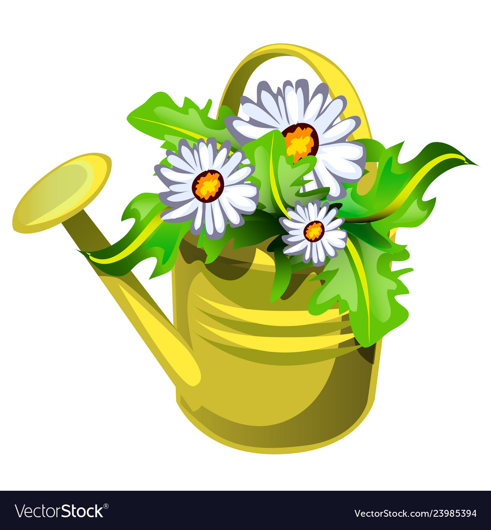 Flower pot in shape a watering can yellow