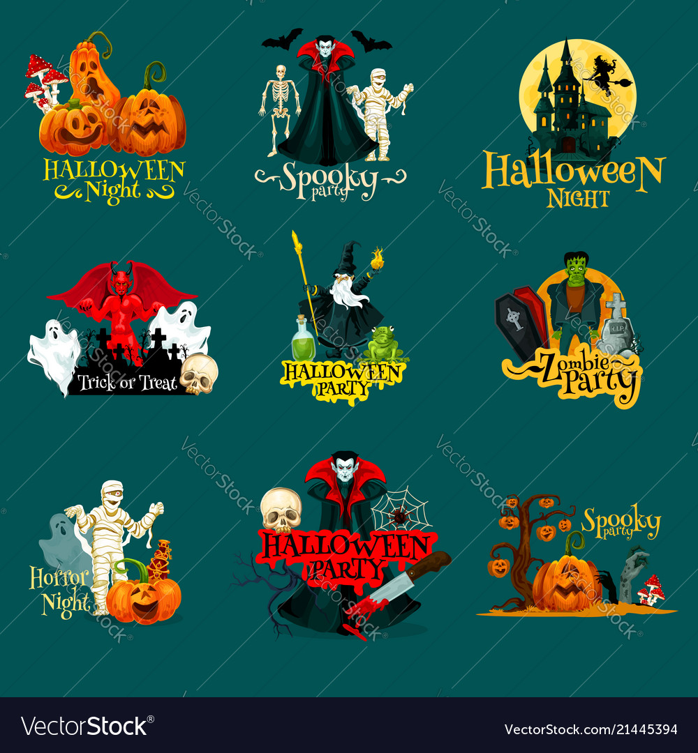 Halloween trick treat night party icons
