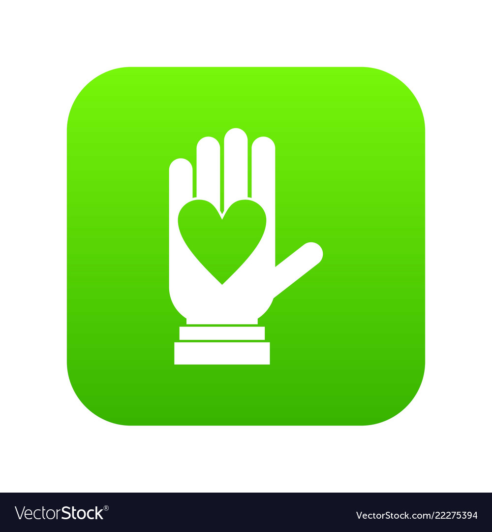 Hand with heart icon digital green