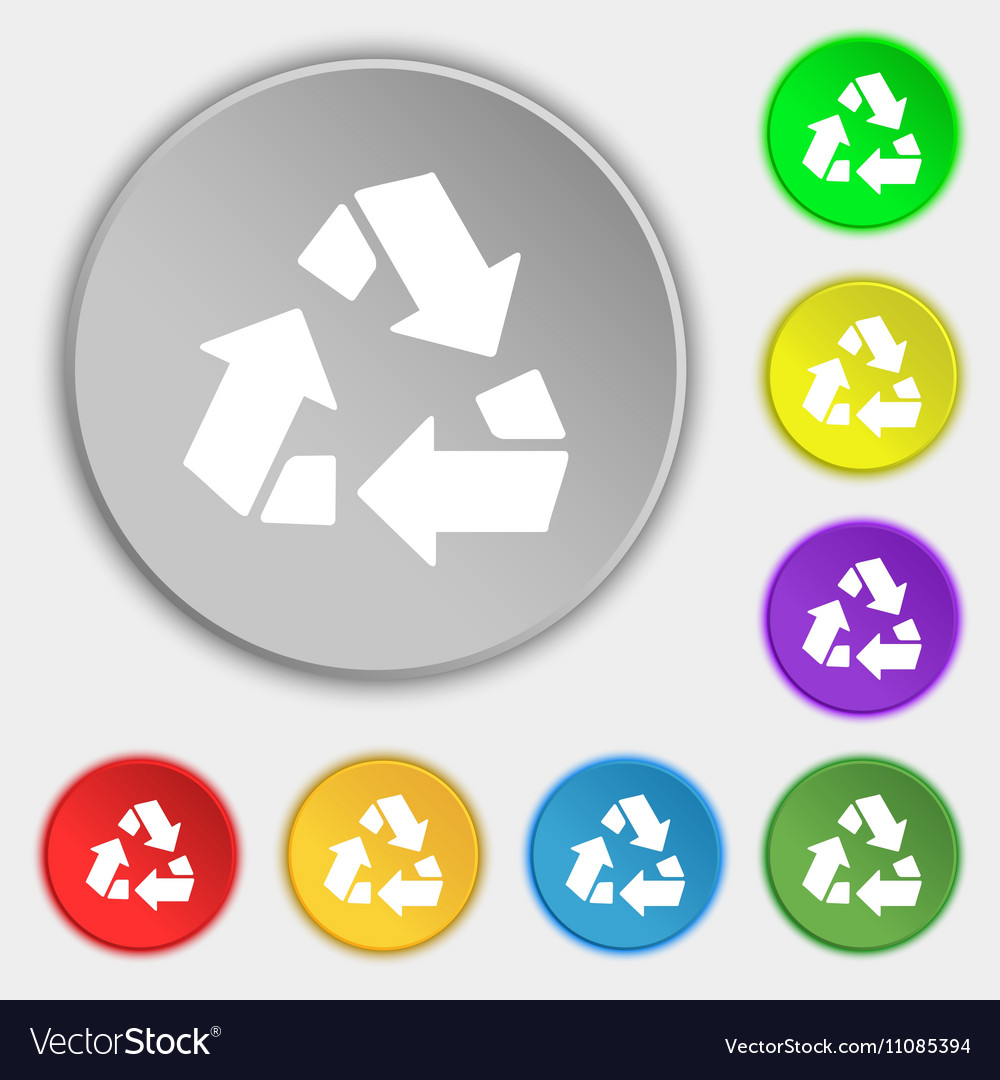 Recycle icon sign Symbol on eight flat buttons