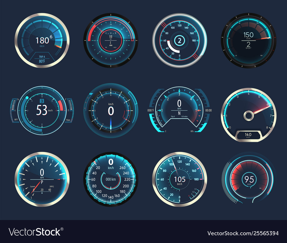 Set isolated car or moto truck speedometer