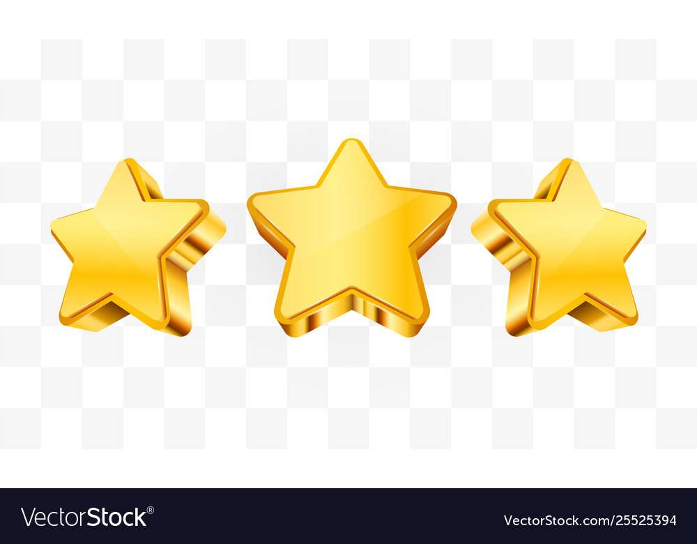 Three golden stars template for mobile game