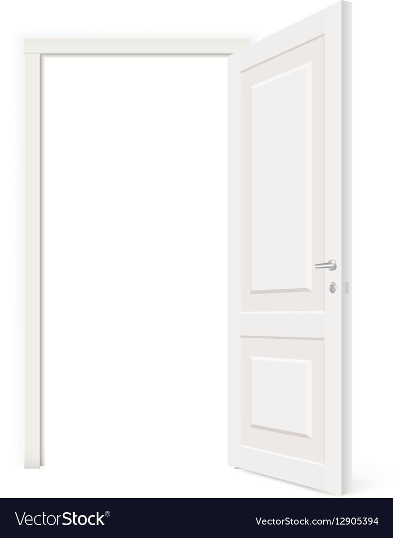 Throw open white door isolated