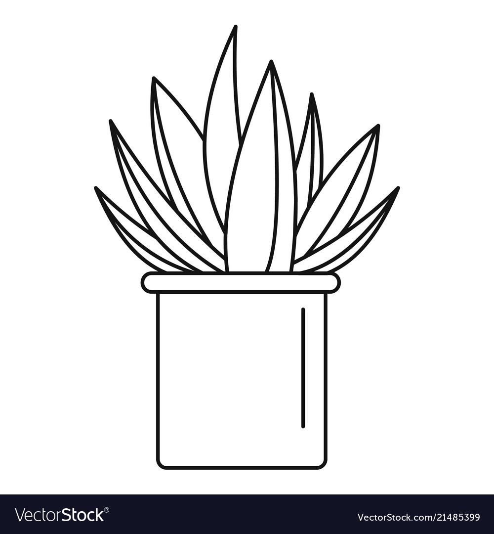 Aloe cactus pot icon outline style