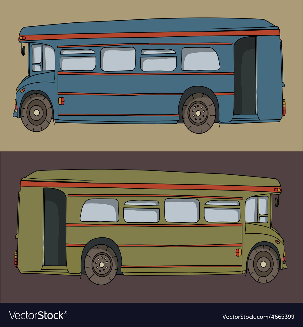 Cartoon Bus Cute Design Drawing Royalty Free Vector Image