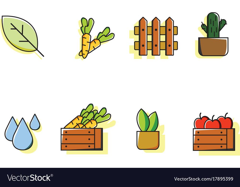 Farm icon sets colorful