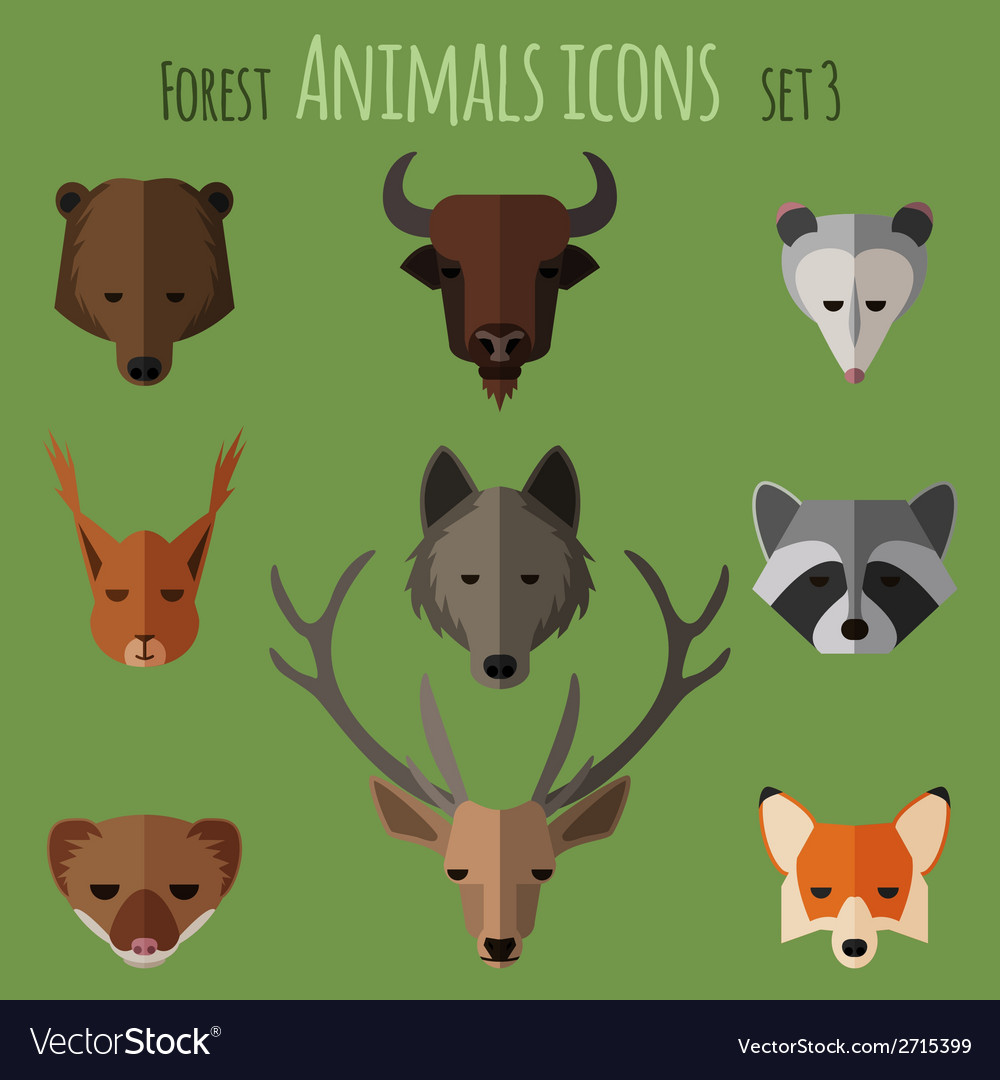 Forest animals flat icons Set 1 vector image