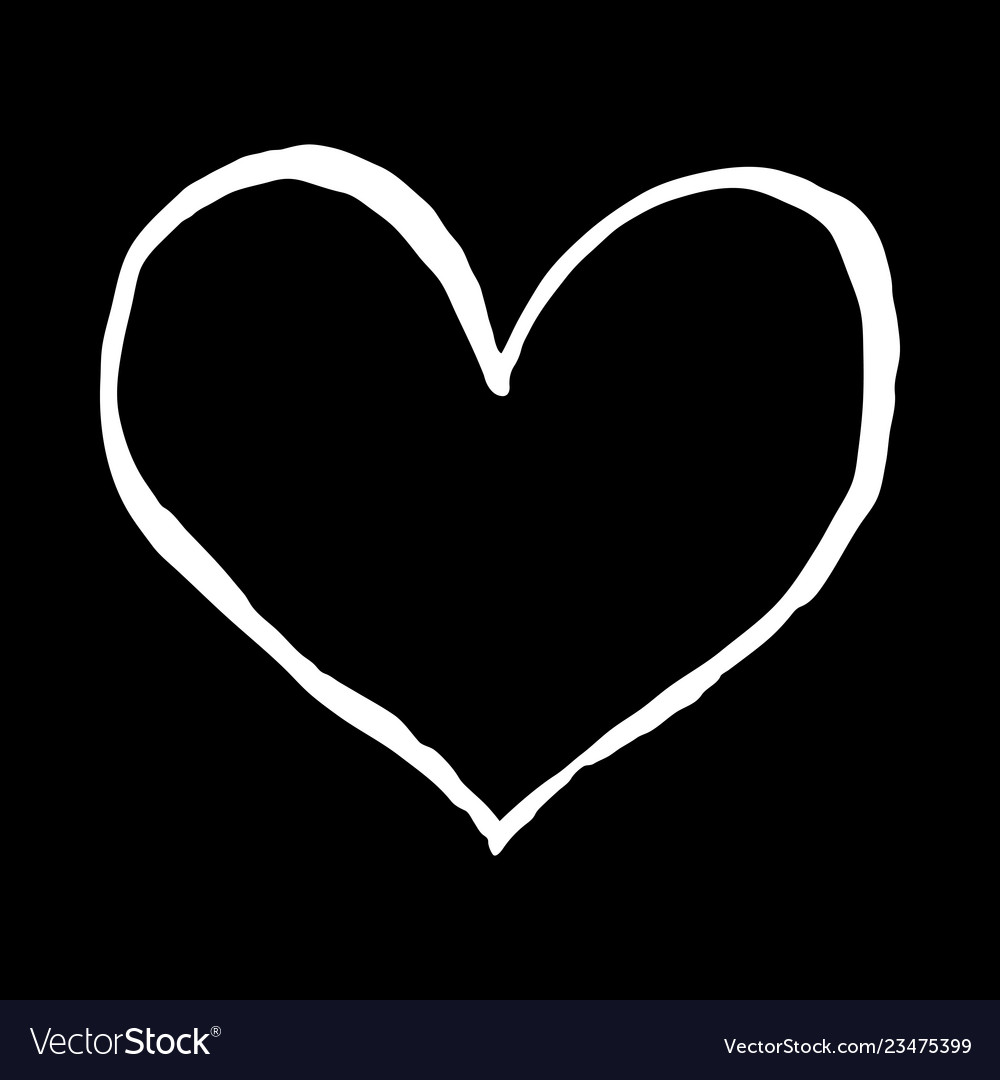 Heart sketch isolated on black background drawing Vector Image