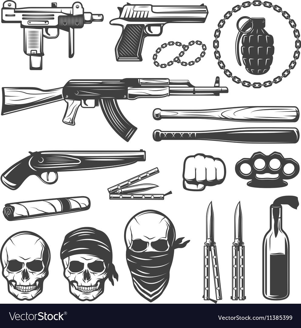Monochrome gangster elements set